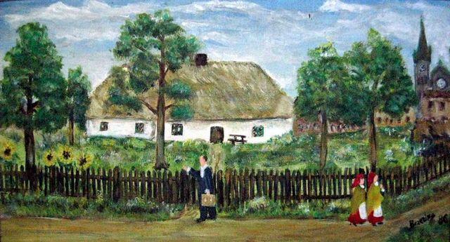 Jan Wypler przed swoim domem na obrazie Emila Brzeziny z Halemby