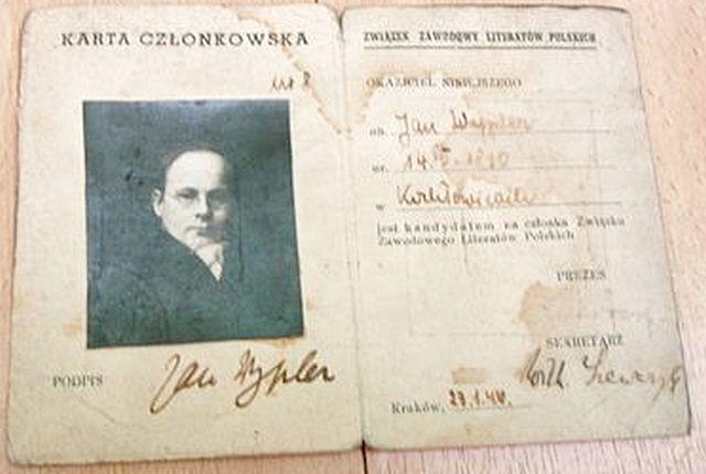 Legitymacja Związku Literatów z podpisem Wilhelma Szewczyka